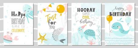 Ensemble de cartes de voeux d'anniversaire et de calibres d'invitation de partie avec le crabe, le poulpe, les poissons, la tortu illustration stock