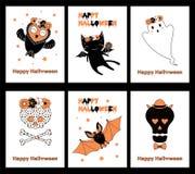 Ensemble de cartes de voeux de Halloween illustration libre de droits