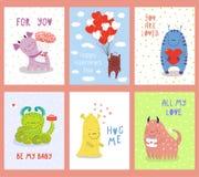 Ensemble de cartes de voeux de jour de valentines avec les monstres mignons illustration libre de droits