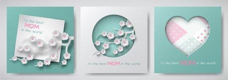 Ensemble de cartes de voeux pour le jour du ` s de mère La feuille de papier avec le texte de félicitation, papier cuted a décoré illustration libre de droits