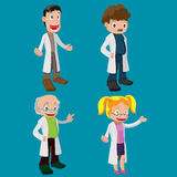 Ensemble de Cartoon Character Cute de scientifique illustration stock