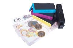 Ensemble de cartouches d'encre d'imprimerie avec l'argent d'argent liquide Image stock