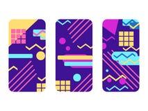 Ensemble de cas de téléphone Memphis Pattern Background Éléments géométriques Memphis dans le style de 80s Vecteur illustration de vecteur