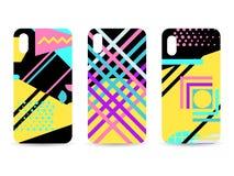 Ensemble de cas de téléphone Memphis Pattern Background Éléments géométriques Memphis dans le style de 80s Vecteur illustration libre de droits