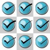 Ensemble de case à cocher Acceptez, checkbox ou coche avec le bouton 3d bleu Image stock