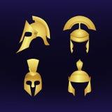 Ensemble de casques d'or Photo stock