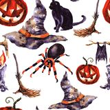 Ensemble de Cat Cartoon With Different Actions, Halloween Photos stock