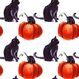 Ensemble de Cat Cartoon With Different Actions, Halloween illustration libre de droits