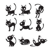 Ensemble de Cat Cartoon With Different Actions, monochrome Images stock