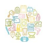Ensemble de cercle d'icônes d'appareils ménagers de découpe Image libre de droits