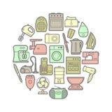 Ensemble de cercle d'icônes d'appareils ménagers de silhouette Images libres de droits