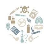 Ensemble de cercle d'icônes de tabagisme de silhouette Images stock