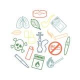 Ensemble de cercle d'icônes de tabagisme intégrées Photo libre de droits