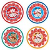 Ensemble de cercle de koi de Maneki Image stock