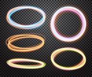 Ensemble de cercles transparents rougeoyants Effets de la lumière Photographie stock libre de droits