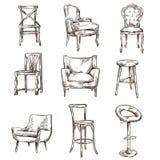 Ensemble de chaises tirées par la main illustration de vecteur