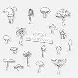 Ensemble de champignons tirés par la main de vecteur Images stock