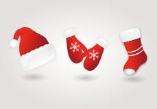 Ensemble de chapeau, de mitaines et de botte rouges de Santa illustration de vecteur