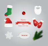 Ensemble de chapeau de Santa, mitaine, botte, barbe, Noël illustration libre de droits