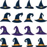 Ensemble de chapeau différent de la sorcière seize dans le style de bande dessinée Veille de la toussaint heureuse illustration stock