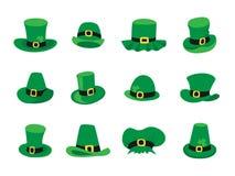 Ensemble de chapeaux de lutin, symbole de jour de St Patricks Image stock