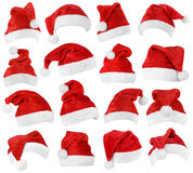 Ensemble de chapeaux de rouge de Santa Claus Photographie stock