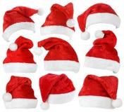 Ensemble de chapeaux de rouge de Santa Claus photographie stock