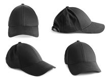 Ensemble de chapeaux noirs sur le fond blanc Photos stock