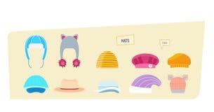 Ensemble de chapeaux pour des garçons et des filles par temps différent illustration libre de droits