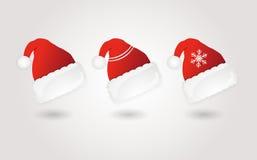 Ensemble de chapeaux rouges de Santa Vecteur illustration libre de droits