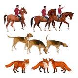 Ensemble de chasse de Fox illustration de vecteur