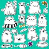 Ensemble de 11 chats d'autocollant de griffonnage avec différentes émotions Chat fait main illustration libre de droits