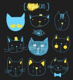Ensemble de chats mignons de griffonnage Chat de croquis Copie faite main de chat illustration stock