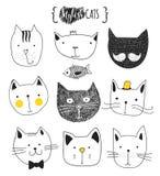 Ensemble de chats mignons de griffonnage Chat de croquis Copie faite main de chat illustration libre de droits