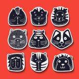 Ensemble de chats mignons de griffonnage Chat de croquis de caractère illustration de vecteur
