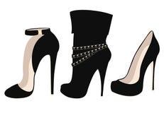 Ensemble de chaussures noires à la mode de talon haut Images libres de droits