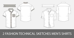 Ensemble de chemises techniques du ` s d'hommes de croquis de mode avec les douilles courtes dans le vecteur Image stock