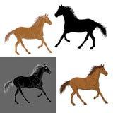 ensemble de cheval de silhouettes Images libres de droits