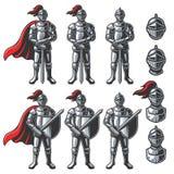 Ensemble de chevaliers de couleur illustration stock