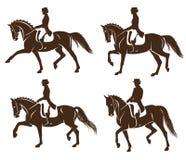 Ensemble de chevaux de dressage avec le cavalier illustration stock