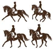 Ensemble de chevaux de dressage avec le cavalier illustration libre de droits