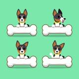 Ensemble de chien de basenji de personnage de dessin animé avec de grands os Illustration de Vecteur