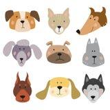 Ensemble de chiens drôles de bande dessinée sur le fond blanc illustration stock