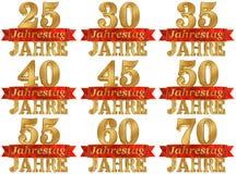 Ensemble de chiffre d'or et le mot de l'année Traduit de l'Allemand illustration 3D illustration de vecteur