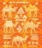 Ensemble de chiffres stylisés des chameaux décoratifs Photos libres de droits