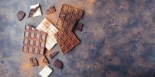 Ensemble de chocolat de lait doux, de blanc et de noir photo stock