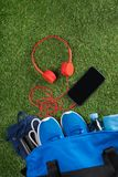 Ensemble de choses bleues pour le sport et le téléphone avec des écouteurs pour le mensonge s'exerçant sur une herbe verte Photos stock
