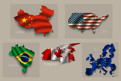 Ensemble de cinq grands états, superpuissances Images libres de droits