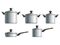 Ensemble de cinq pots à cuire blancs Photo libre de droits