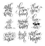 Ensemble de citation positive de lettrage manuscrit au sujet de l'amour à valent illustration stock